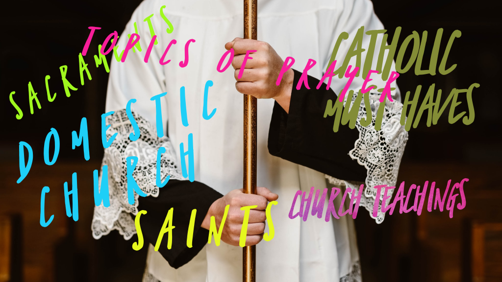 This image is of an Altar Server carrying the crucifix (unseen). Posted all over the image is different topics of the Blog site in bold colors and different shapes and sizes and patterns, each unique to the life of the Church.